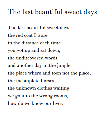 the last beautiful sweet days